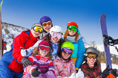 Portrait of seven smiling friends wearing goggles Royalty Free Stock Photography
