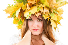 Portrait of sexual  autumn  woman wreath of maple Stock Image