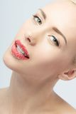 Portrait of sexual beautiful blonde with lips Stock Image