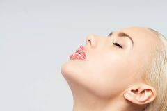 Portrait of sexual beautiful blonde with lips Royalty Free Stock Image