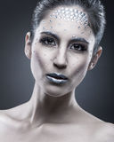 Portrait of sexual beautiful girl with crystal on face Stock Images
