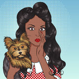 Portrait of sexy african american girl with little dog Yorkshire. Terrier in the pop art style. Vector illustration of retro girl in comics style. Vintage Royalty Free Stock Photos