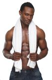Sexy African American Man Holding Towel over Shoulders Stock Image