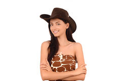 Portrait of a american cowgirl with hat. stock photography