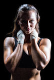 Portrait of sexy athlete with hands around neck Royalty Free Stock Images