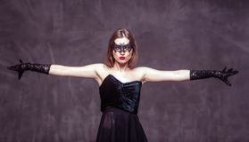 Woman Dancer in Black Mask royalty free stock photos
