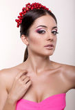 Portrait of sexy beautiful brunette with headband Royalty Free Stock Photography