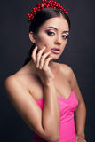Portrait of sexy beautiful girl with dark hair  with headband Stock Images