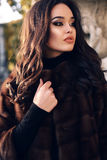 Portrait of beautiful woman with dark hair in luxurious fur coat. Fashion outdoor portrait of beautiful woman with dark hair and bright makeup,wearing luxurious stock photos