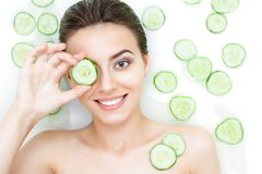 Portrait of woman taking spa bath. Skin beauty health care concept Stock Images