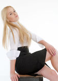 Portrait of sexy blond woman. Posing on white Royalty Free Stock Photo