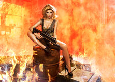Portrait of sexy blonde  with gun Royalty Free Stock Photography