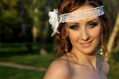 Portrait of sexy bride with perfect wedding makeup Royalty Free Stock Photo