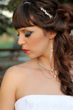 Portrait of sexy bride with perfect wedding makeup Royalty Free Stock Image