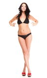 Portrait of sexy brunette in brown bikini isolated Royalty Free Stock Photos