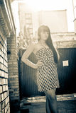 Portrait of sexy brunette girl in dress posing against brick wall Royalty Free Stock Image