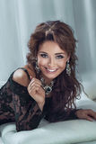 Portrait of sexy brunette woman Royalty Free Stock Images