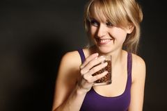 Portrait of sexy caucasian young woman with coffee. Close-up portrait of sexy caucasian young woman with coffee in cup Royalty Free Stock Photography