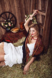 Portrait of countrywoman in rustic style Royalty Free Stock Images