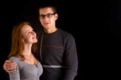 Portrait of sexy couple posing in studio Stock Images