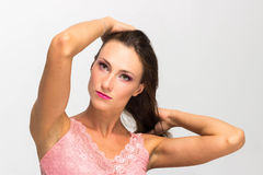 Portrait of a sexy girl with beautiful hair, Touching hair Stock Images