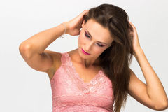 Portrait of a sexy girl with beautiful hair, Touching hair Stock Image