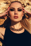 Portrait of sexy girl with blond hair with evening makeup Stock Image