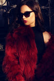 Portrait of sexy girl with dark hair in luxurious fur coat and sunglasses Stock Photo