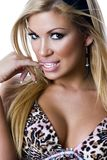 Portrait of a girl wearing bra. With animal print Royalty Free Stock Photo