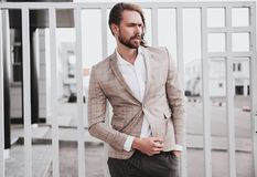 Handsome fashion model man dressed in elegant suit royalty free stock images
