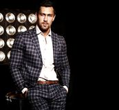 Handsome fashion male model man dressed in elegant suit Royalty Free Stock Photo