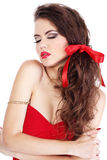 Portrait Sexy lady with red sensual lips Royalty Free Stock Photography