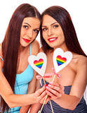 Portrait sexy lesbian women with heart Royalty Free Stock Photo
