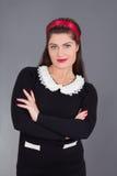 Portrait of maid in black uniform Royalty Free Stock Photo