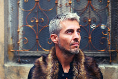 Portrait of a sexy man in wolf  fur and ornamental medieval window on background.  Royalty Free Stock Photography