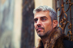 Portrait of a sexy man in wolf  fur and ornamental medieval window on background Royalty Free Stock Images