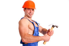 Portrait of mechanic with a hammer royalty free stock photos