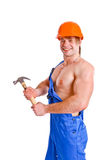 Portrait of sexy mechanic on white background Royalty Free Stock Photo