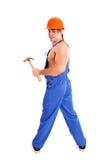 Portrait of sexy mechanic on white background Stock Image