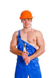 Portrait of sexy mechanic on white background Stock Image