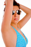 Portrait of sexy model wearing sunglasses Royalty Free Stock Photography