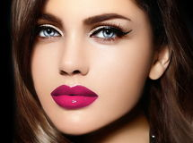 Portrait of model woman with colorful lips perfect skean stock images