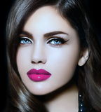 Portrait of sexy model woman with colorful lips perfect skean Royalty Free Stock Photo
