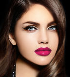 Portrait of sexy model woman with colorful lips perfect skean Stock Photos