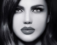 Portrait of model woman with colorful lips perfect skean royalty free stock image