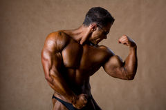 Portrait of sexy muscle man posing in studio. Royalty Free Stock Images