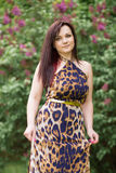Portrait of a sensual beautiful brunette girl with long hair in leopard yellow-black dress walking in the park Royalty Free Stock Photos