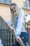 portrait of and Sensual Caucasian Female Posing on Stairs stock photos