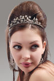 Portrait of Sexy and Sensual Caucasian Young Female with Crown Stock Image