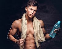 Portrait of a shirtless young man model with a muscular body and stylish haircut, holds a towel and bottle of a stock images